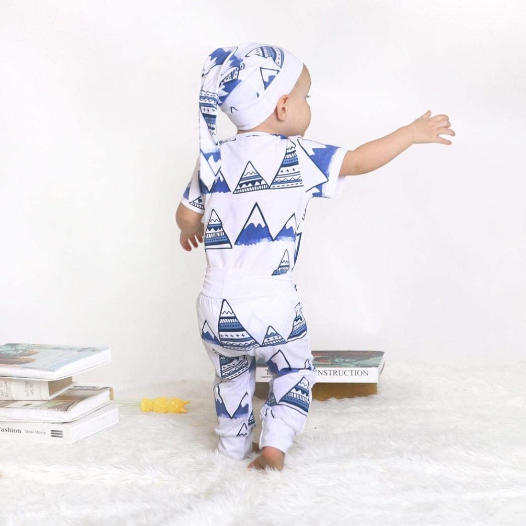 Memela Baby Clothes,Newborn Baby Girls Clothes Mountain Print Romper Outfit Pants Set Hat