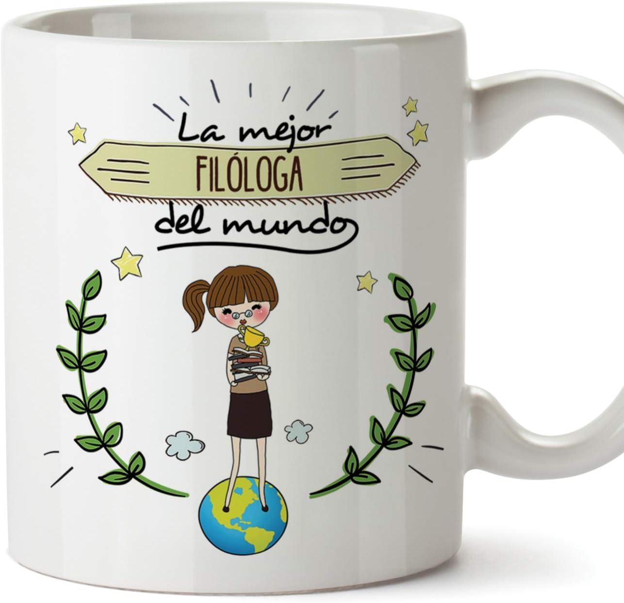 MUGFFINS Filóloga Tazas Originales de café y Desayuno para Regalar a Trabajadores Profesionales - La Mejor Filóloga del Mundo - Cerámica 350 ml