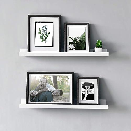 WELLAND Vista Photo Ledge Floating Wall Shelf, 24-inch, Set of 2, White Renewed