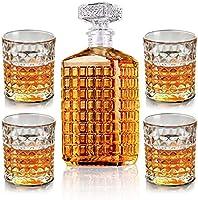 New rui cheng Vaso de Vino de Whisky 1 Botella de 17oz + 4 Vasos de Whisky de 9