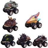 PAWACA Pull Back Dinosaur Cars, Dino Cars Toys Big Tire Wheel 3-14 Year Old Boys Girls Creative Gifts Kids (6 Pack)