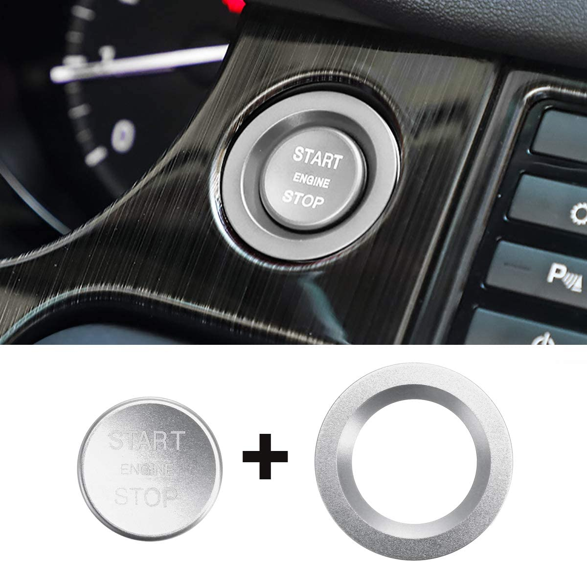 Red AAlamor Car Start Button Carbon Engine Switch Cover Interior Moulding for Land Rover Discovery Sport 2015-2018