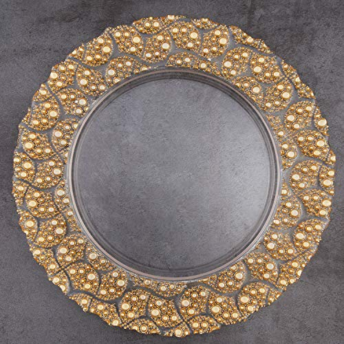 ALINK Gold Rim Glass Charger Plates, 13