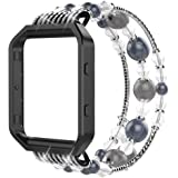 """Simpeak Compatible for Fitbit Blaze Band with Frame, Replacement Fashionable Beaded Jewelry Elastic Bracelet Band Strap for Fit bit Blaze Smartwatch - Small(6.3"""")/Large(7.28""""),Black Pink White"""
