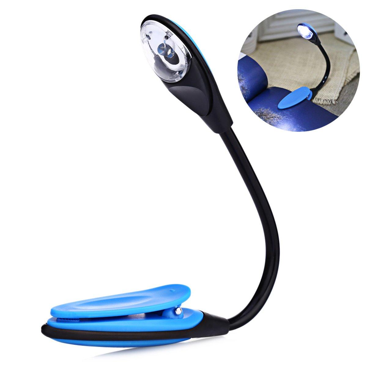 LEDMOMO Clip Leselicht, LED-Buchleuchte multifunktional als Lesezeichen Schreibtisch Bett Lampe zum Lesen mit Soft Cover und Hardcover Bücher usw. (blau) [Energieklasse A+]
