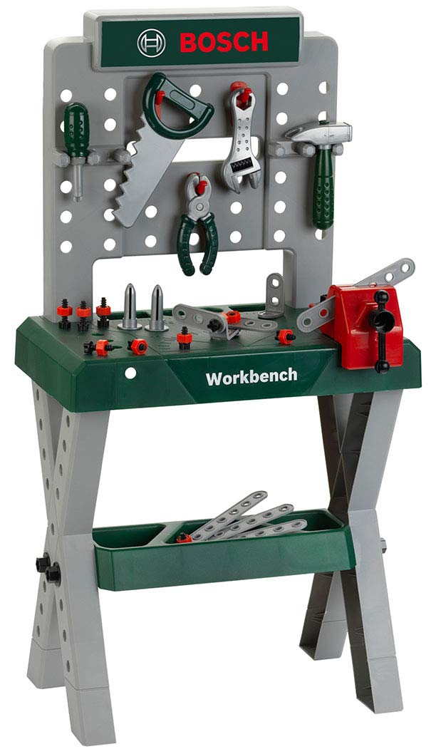 Bosch Mini Kids Play Tools Work Station Work Bench With Saw Hammer Accessories