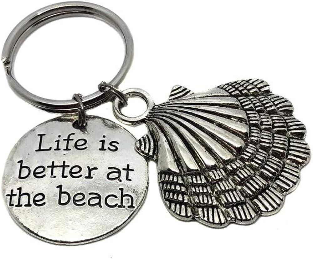 LIFE IS BETTER AT THE BEACH OCEAN SEA KEY CHAIN CLIP FOR PURSE BAG CHARM FOB