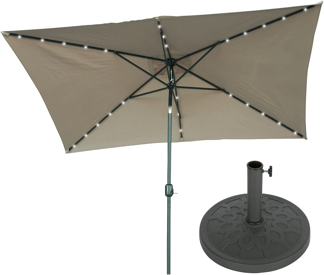 Trademark Innovations 10 x 6.5 Rectangular Solar Powered LED Lighted Patio Umbrella with Gray Circle Geometric Base Tan