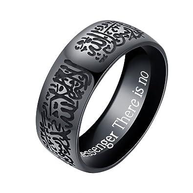 JAJAFOOK Unisex 8mm Silver Stainless Steel Shahada Allah Ring Islamic Moslem Religious Muslim For Rings mFLUI