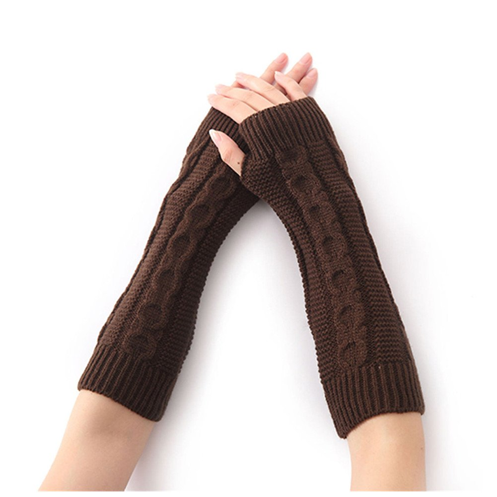 Kocome Women Winter Elbow Length Thumbhole Knitted Long Fingerless Gloves