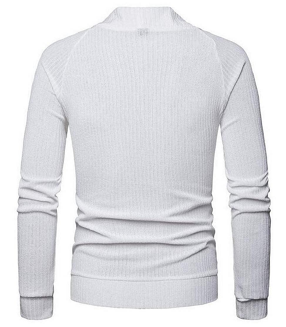 KLJR Men Plus Size Long Sleeves Sweaters Button Front Wool Cardigan