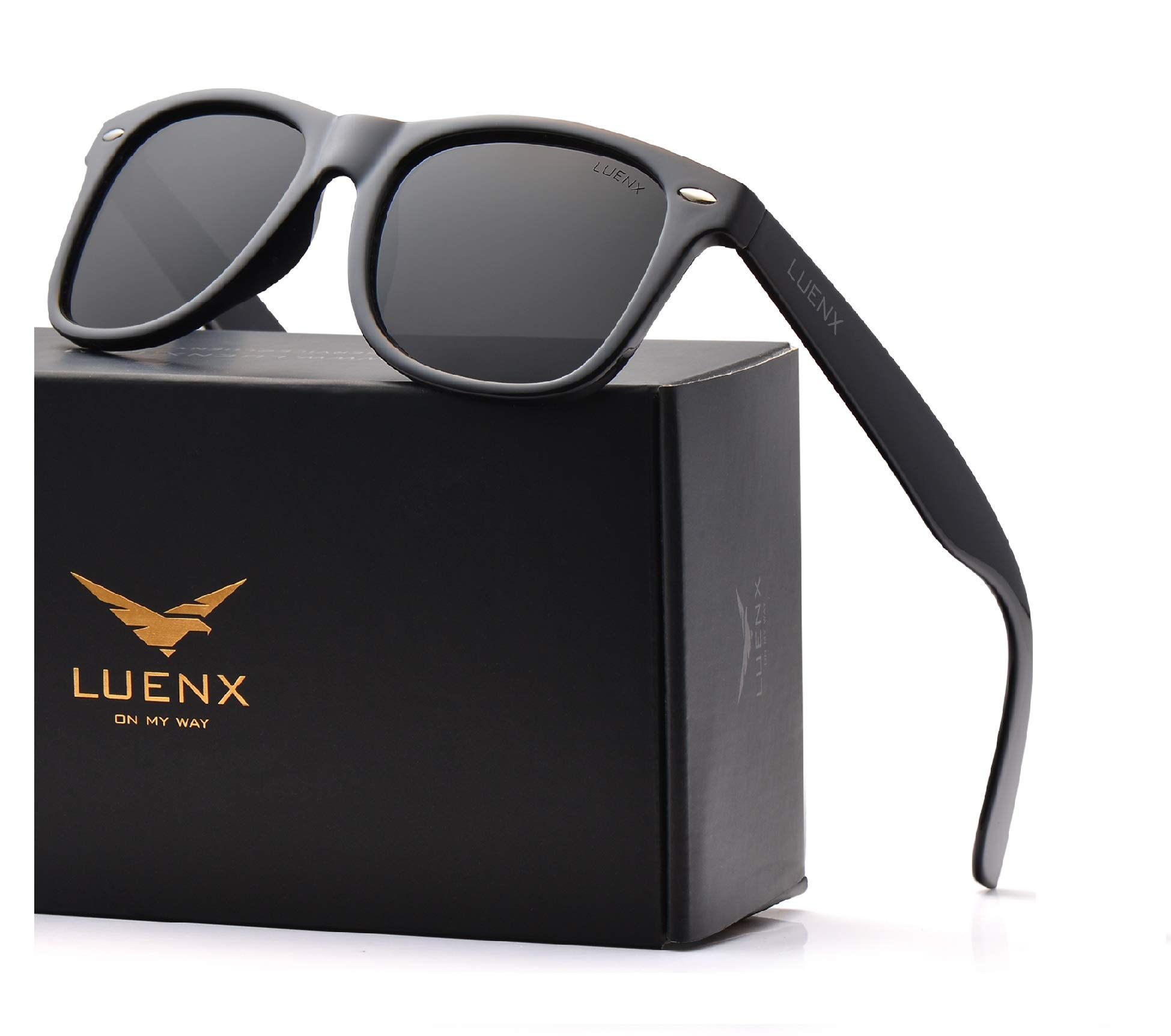 UV 400 Protection,by LUENX with Case Mens Sunglasses Polarized Womens