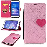 Huawei Honor 6X Wallet Case,Huawei Honor 6X Leather Case,Cozy Hut Love heart pattern Book Wallet PU Leather Flip Case Magnetic Closure [Drop Protection/Shock Absorption] Silicone Back Holder Cover with Card Slots & Stand & Wrist Strap For Huawei Honor 6X - Pink lo