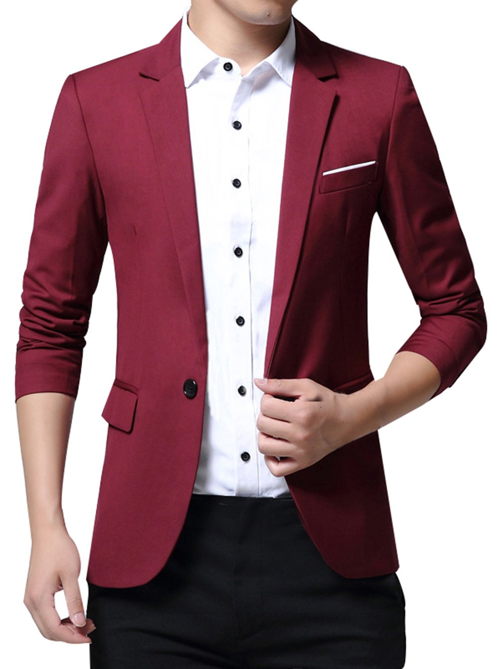 JiaYou Men Boy Slim Fit Suits Casual One/Two Buttons Flap Pockets Solid Blazer Jacket USNB026