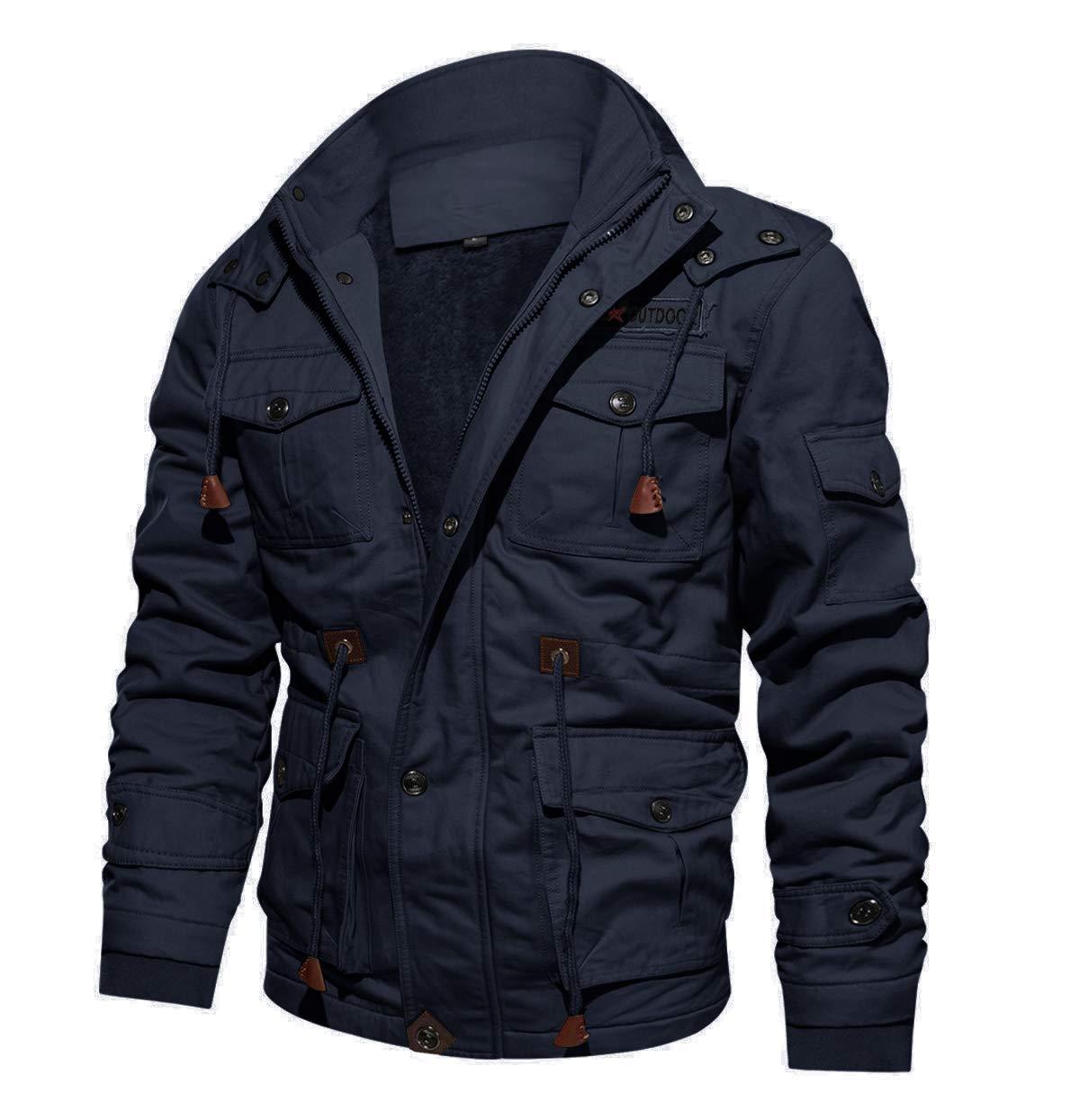 CRYSULLY Men's Multi Cargo Pocket Tactical Safari Jacket Fall Cotton Field Fleece Jacket Navy Blue by CRYSULLY
