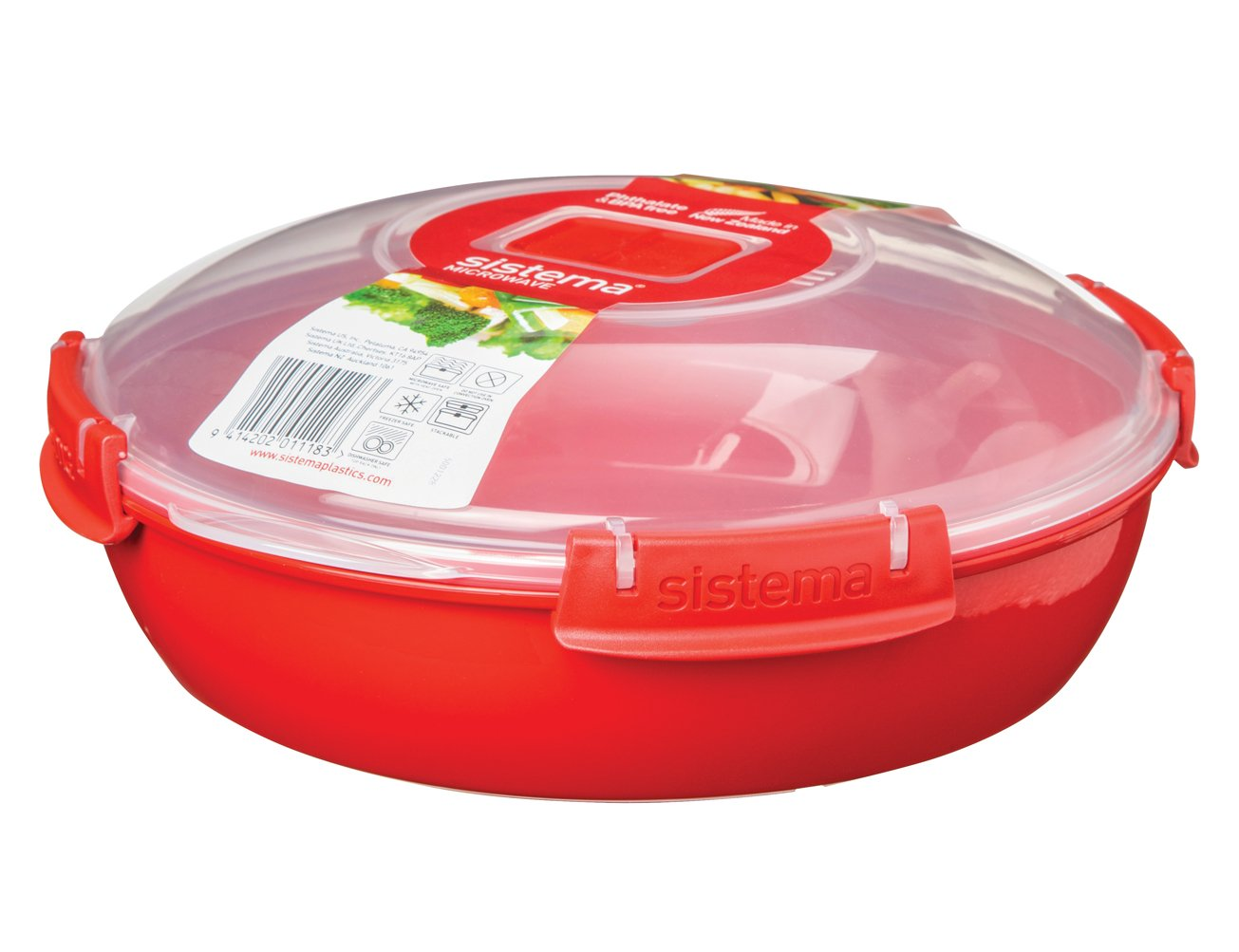 Sistema Microwave Collection Round Dish, Red by Sistema
