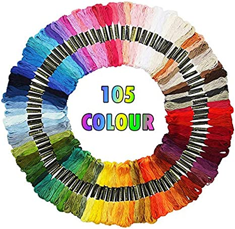 Friendship Bracelets Floss 100 Skeins Per Pack and Free Set of Embroidery Needles Cross Stitch Threads Rainbow Color Embroidery Floss Crafts Floss