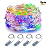 mini led christmas lights - ITART Micro LED String Lights Battery Powered Set of 4 Multi Color Mini String Light 20 LEDs/6ft (2m) Ultra Thin Silver Wire Rope Lights for Christmas Trees Wedding Parties Bedroom