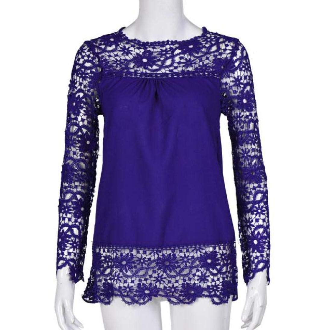 Women Plus Size Hollow Out Lace Splice Long Sleeve Shirt Casual Blouse Loose Top(Blue,Medium) by iQKA (Image #2)