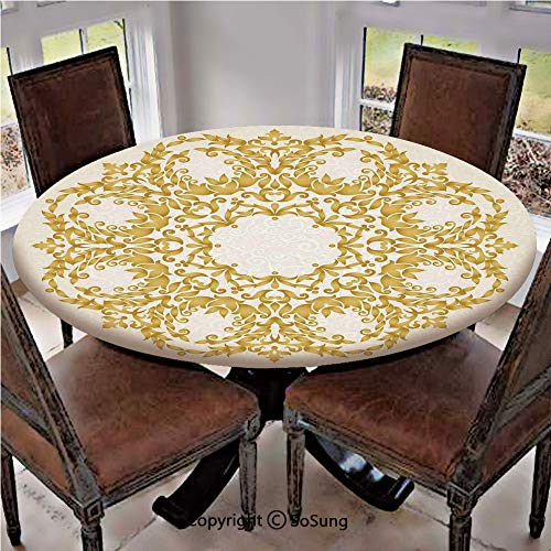 Elastic Edged Polyester Fitted Table Cover,Traditional Gold Floral Round Circle with Baroque Elements Turkish Ottoman Style Art,Fits up 40
