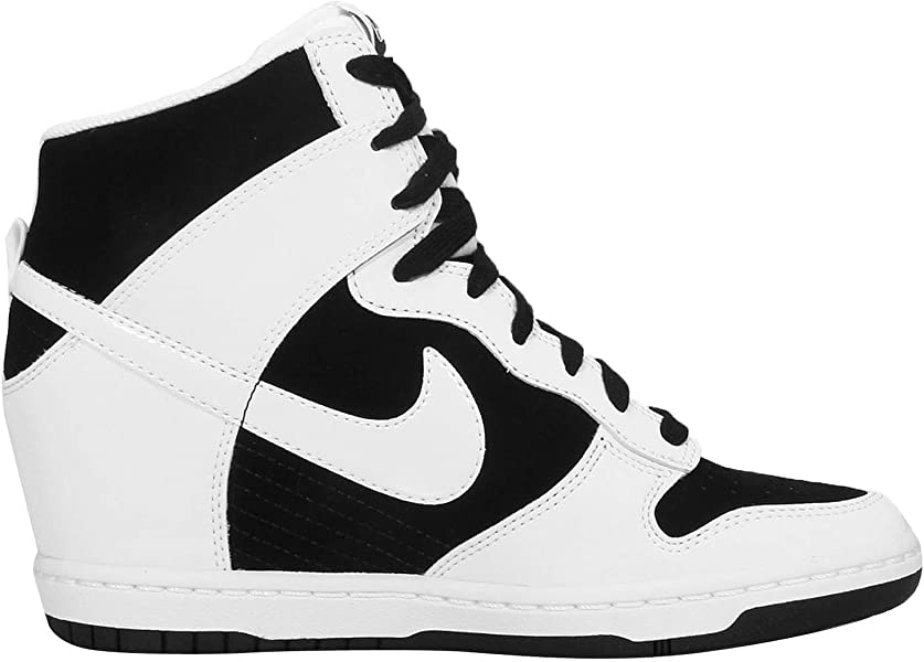 a8086ef6f301 WMNS Dunk Sky HI Essential Wedge Sneakers 644877-007 Black White-White (USW  7)