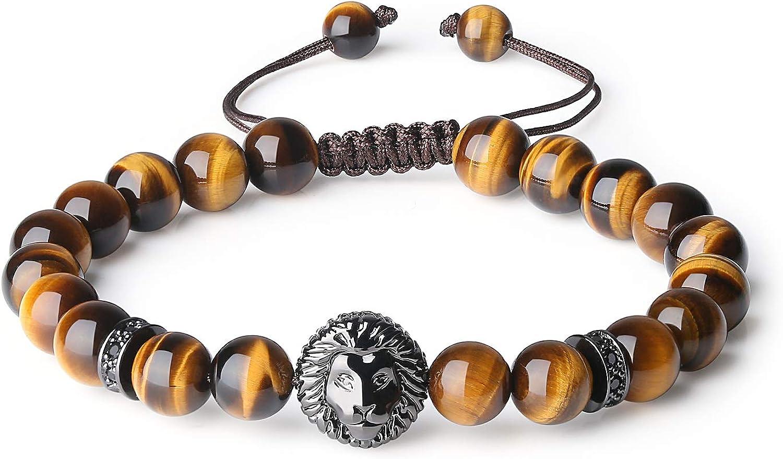COAI Pulsera para Hombre de Piedras Naturales con Amuleto León
