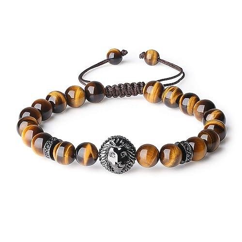 7037778d7349 COAI® Pulsera de Piedra Natural Ojo de Tigre con Cabeza de León para Hombre   Amazon.es  Joyería