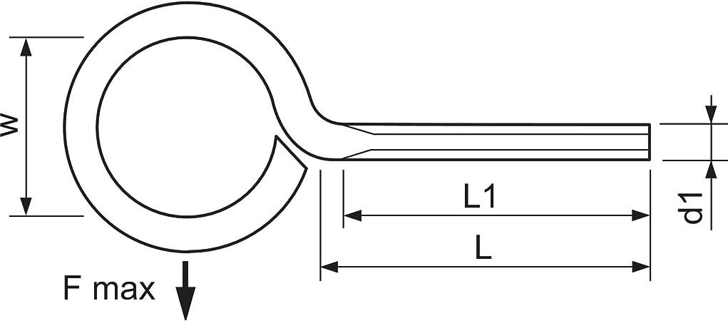 h80206//10/BL1 10 secotec Vis /à anneau 20/x 8/mm plaqu/é zinc bleu SB Lot de 10