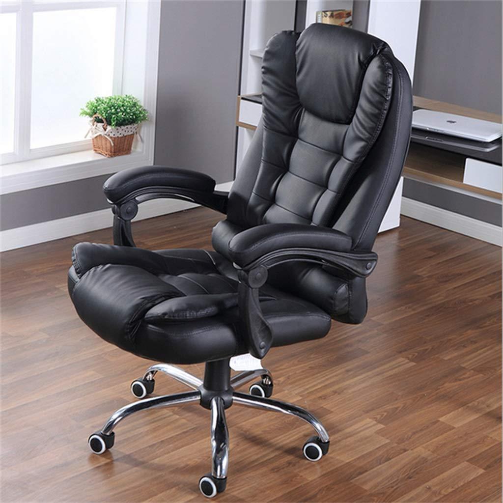 Kontorsstol chef tjock vadderad svängbar kontorsstol med armstöd höjd justerbar och huvudstöd lutningsspänning (färg: B) c