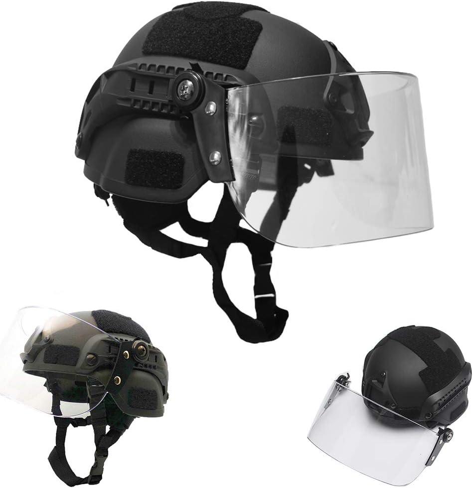 WLXW Casco Rápido Táctico Mich 2000, Casco de Paintball PJ Airsoft, Equipo de Protección de Tiro de Caza Live CS con Máscara A Prueba de Explosiones