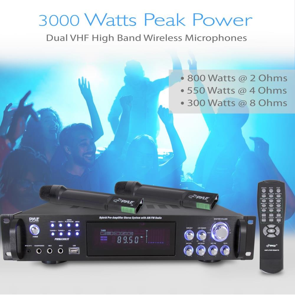 Pyle 4 Channel Home Audio Power Amplifier 3000 Watt The Preamplifier With Dual Recording Stereo Receiver W Speaker Selector Am Fm Radio Usb Headphone 2 Wireless Mics For