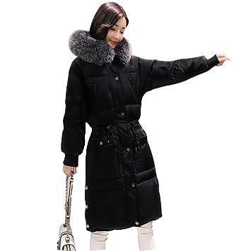 Gwell Femme Blouson Légère Hiver Manteau en Vogue Doudoune Longue Capuche  Fourrure Noir 1dbbbbd0d461
