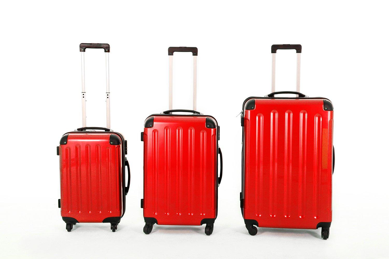 3 teiliges oder Einzeln M L XL Polycarbonat / ABS Trolley Koffer Bordcase Set Hartschale Reisekoffer Kofferset 4 Rollen (3er Set, Champagne)