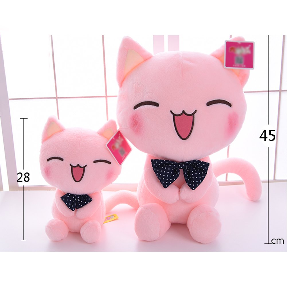 WuKong Pink Bow Tie Cat Plush Toy Smiling Face Doll Children Plush Doll (S+L(10.9''+17.5''))