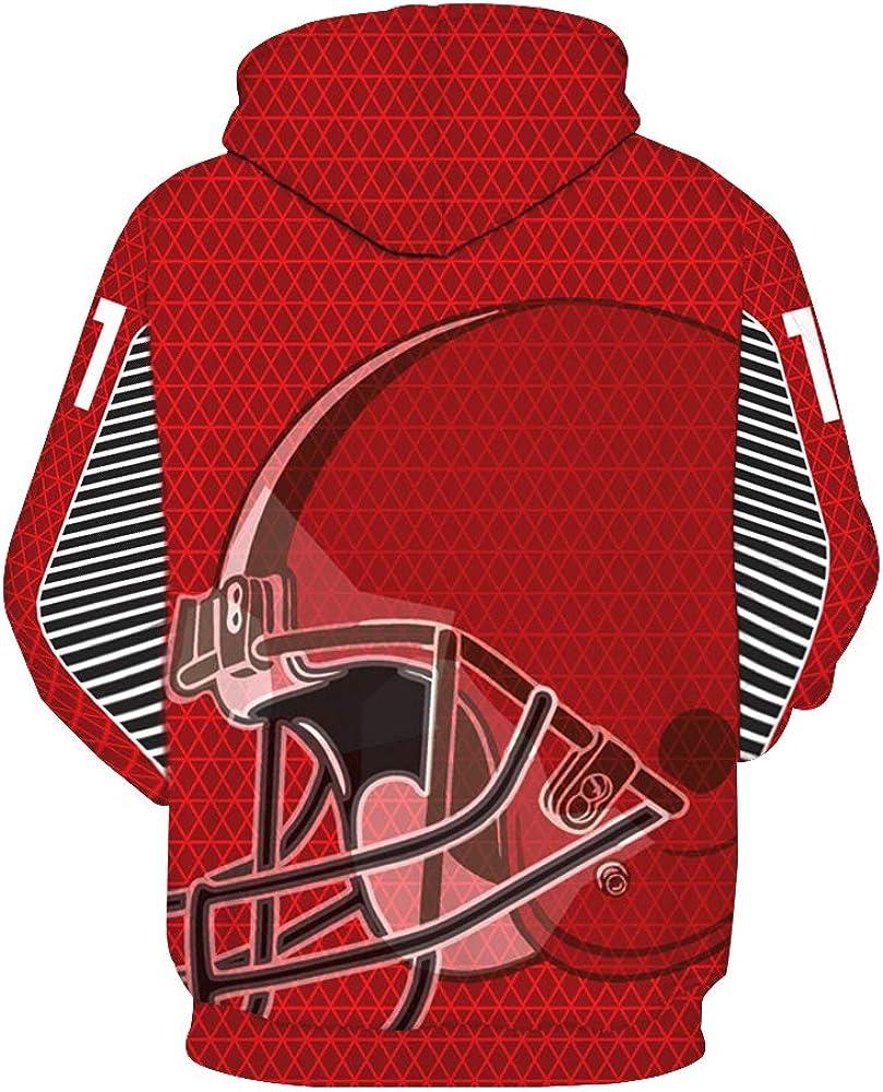 GGAFGH-HAG Mens 3D Digital Print Football Team Sports Pullover Hoodies
