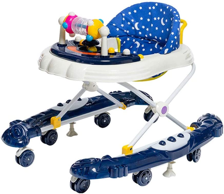 ZGZRXGY Multifunctional Baby Walkers for Boys&Girls Gifts with Dinner Tray & 8 Silent Wheels, Anti-Rollover Folding Height Adjustable Toddler Walker for Kids 6-18Months(Blue )