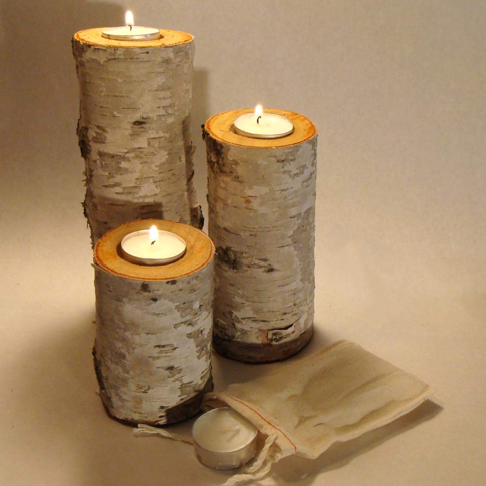 "Real Birch Log Tea-light Candleholder Set (3) These Candleholders Are Crafted From Real Birch Logs. The Tallest Measures About 7.5"" X 2.5"". the Next Is About 6"" X 2.5"". the Smallest Is About 4"" X 2.5"". They Each Hold a Replaceable 1-1/2 Inch Tea-light Candle. (Candles Included) Sealed Tops to Protect the Wood & Felt Covered Bottom to Protect Your Furniture. These Are Cut From Real Birch Trees with the Birch Bark Intact. Each Having It's Own Personality Given By Nature."