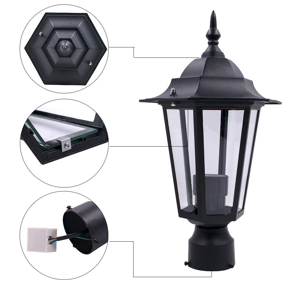 Redvive Top Post Pole Light Outdoor Garden Patio Driveway Yard Lantern Lamp Fixture Black