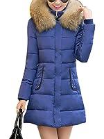 f2796e5e3c7d7 LaoZan Inverno Donna Lungo Giacca Spessore Sottile Cappotto Imbottito Con  Pelliccia Ecologica Cappuccio