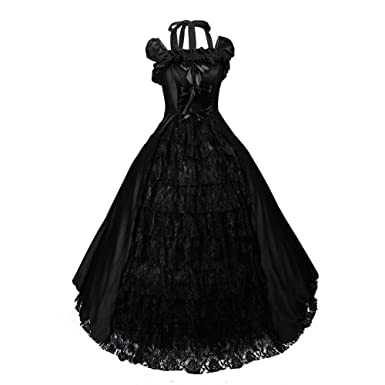 black wedding dress gown gothic lolita victorian satin halloween s