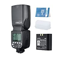 Godox V860II-N Flash Speedlite con Incorporado 2.4G con i-TTL Flash Automático + Li-on Batería + Flash Difusor Softbox para Nikon D800 D700 D7100 D7000 D5200 D5100 D5000 D300 D300S D3200 D3100 D3000 D200 D70S D810 D610 D90 D750