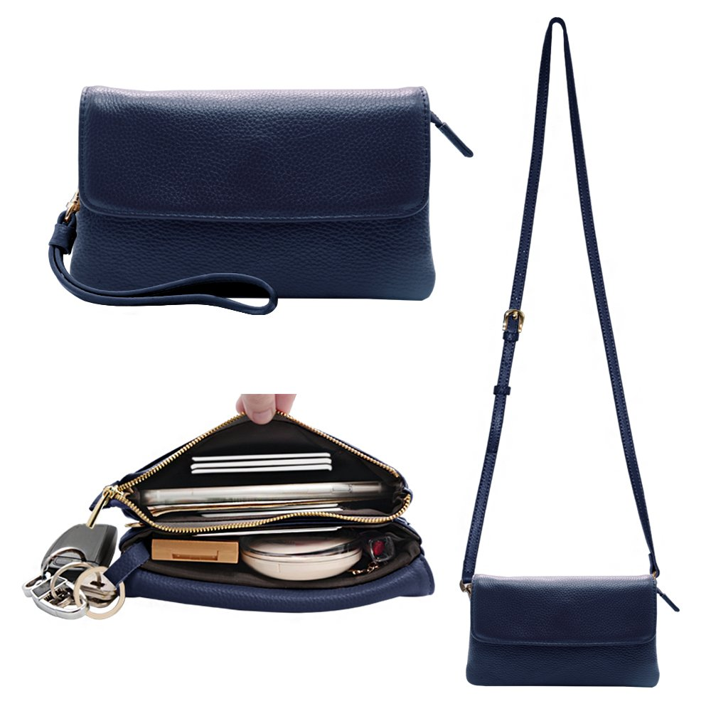 Befen Womens Leather Wristlet Clutch Crossbody Cell Phone Wallet, Mini Cross Body Bag with Shoulder Strap/Wrist Strap/Card Slots for iPhone 6S Plus/Samsung Note 5 – Navy Blue