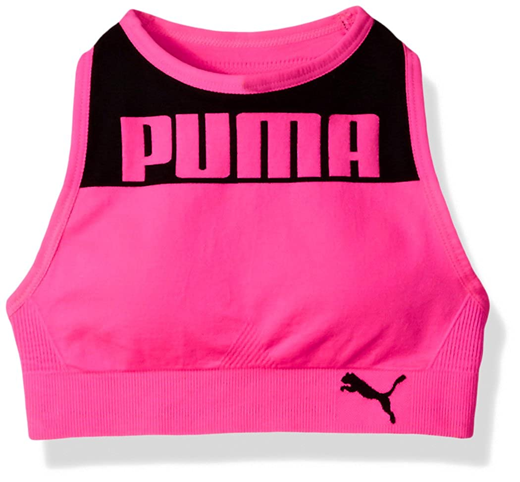 PUMA Girls Big Girls Girls' Seamless Logo Halter Sports Bra