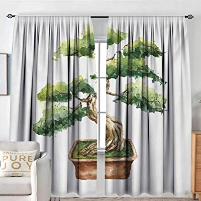 "NUOMANAN Rod Pocket Drapes and Curtain Zen Garden,Watercolor Style Bonsai Hand Drawn Japanese Tree Eastern Nature Inspired,Green Pale Brown,Customized Curtains 84""x100"": Home & Kitchen"