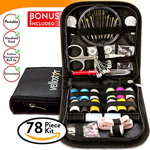COMPACT SEWING KIT w/ 4 BONUSES & Most Useful Sewing Accessories for Home, Travel & Sewing Emergency, for Beginners & Campers, Quality Sewing Supplies for Mending & Sewing Needs, Improved Needle Case (Home Essential Sewing Kit compare prices)