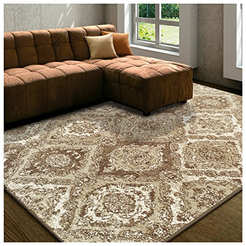 Superior Designer Hayden Area Rug Collection, Intricate Damask Ogee Pattern, 6mm Pile Height with Jute Backing, Affordable and Beautiful Rugs - 8' x 10', Brown (Rug Brown Tan And)