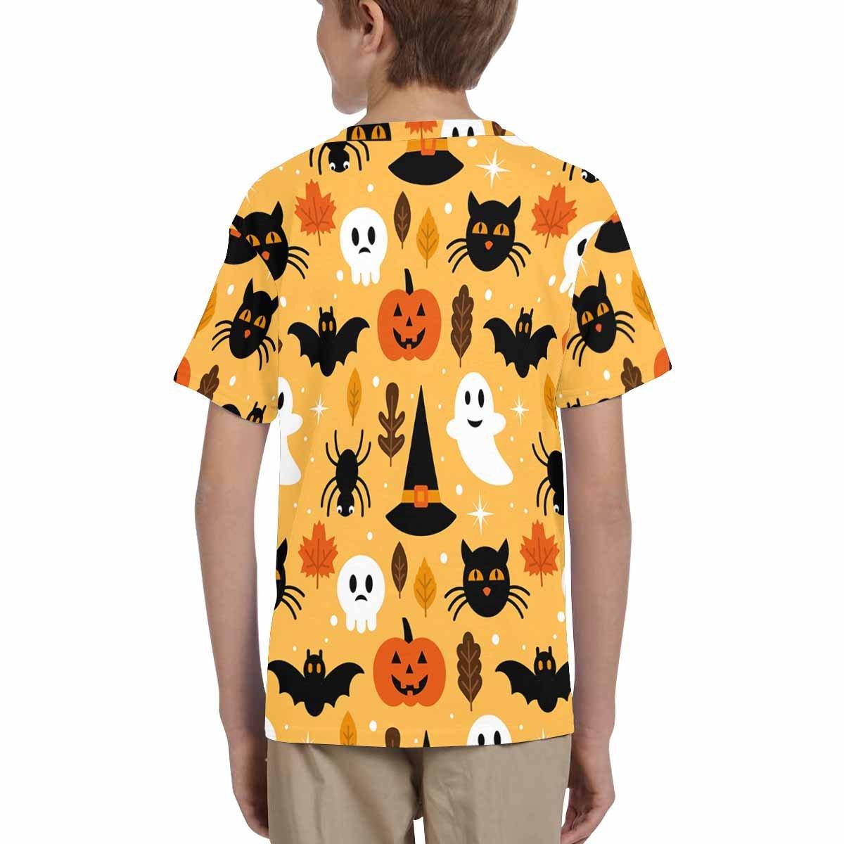 XS-XL Pumpkin and Black Cat Halloween INTERESTPRINT Kids T-Shirt Skull