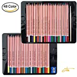 Dainayw Colored Pencils,Drawing Pencils for Sketch,professional Quality Watercolor Pencil,Metal Case Tin,Perfect for Adult Coloring Books Secret Garden or Childrens Gift.set of 48 Assorted Colors