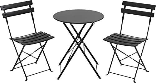 Outdoor Furniture Patio Set Bistro Table Set 3 Piece Patio Set Steel Patio Bistro Set Small Patio Table and Chairs Folding Bistro Set