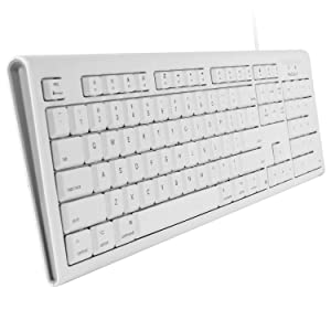 Macally Full-Size USB Wired Keyboard for Mac Mini/Pro, iMac Desktop Computer, MacBook Pro/Air Desktop w/ 16 Compatible Apple Shortcuts, Extended with Number Keypad, Rubber Domed Keycaps - Spill Proof